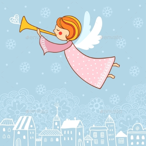 Christmas Card with an Angel - Christmas Seasons/Holidays