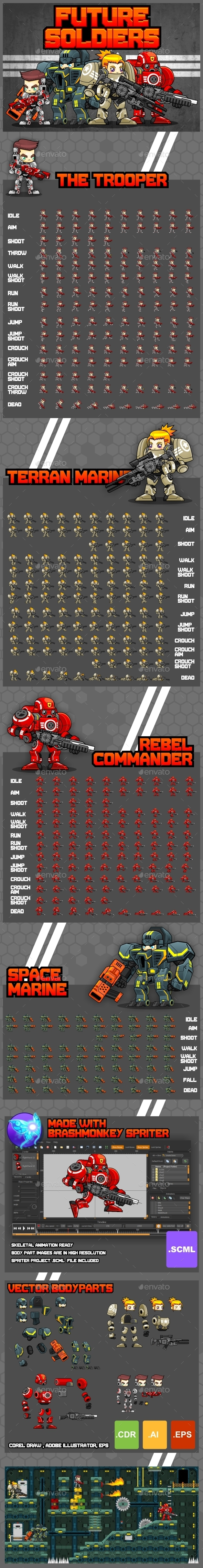 Future Soldiers - Game Sprites - Sprites Game Assets