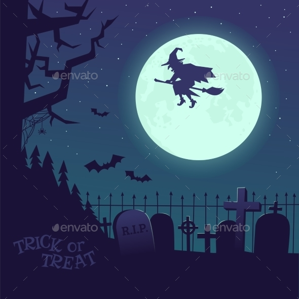 Poster Halloween Witch on a Broomstick - Halloween Seasons/Holidays