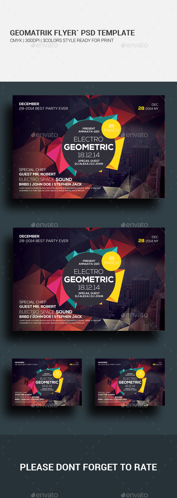Geometric City Flyer Psd Template - Clubs & Parties Events