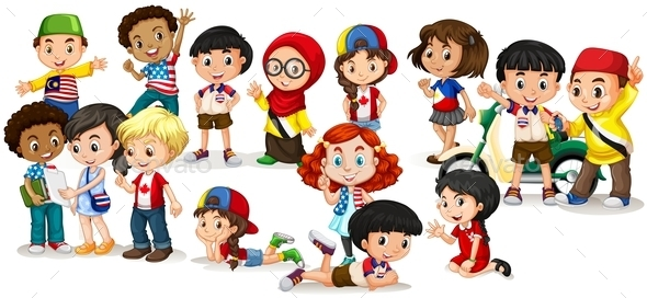 Group of International Children - People Characters