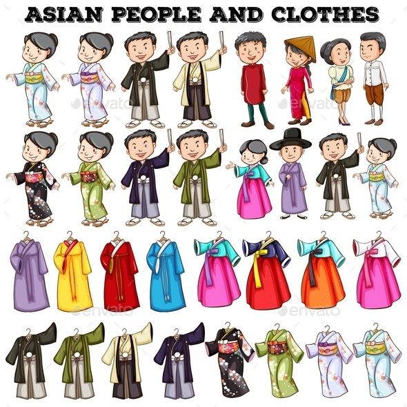Asian People and Clothes - People Characters