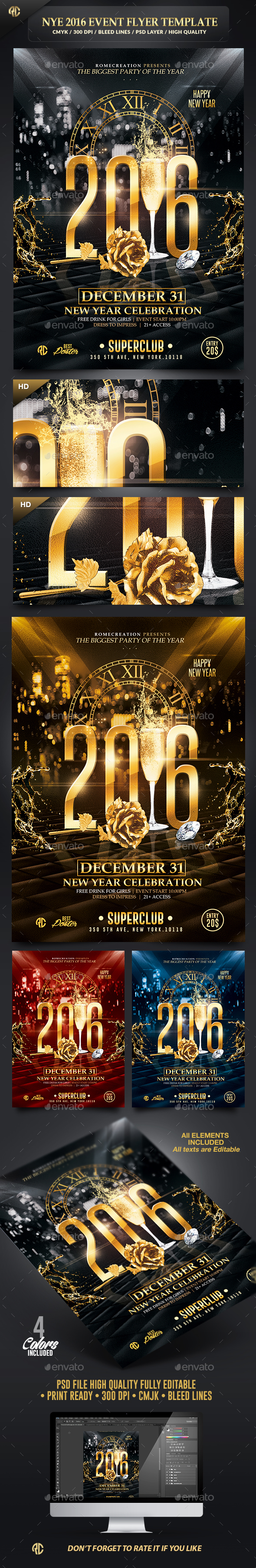 New Year Event 2016 | Psd Flyer Template  - Flyers Print Templates