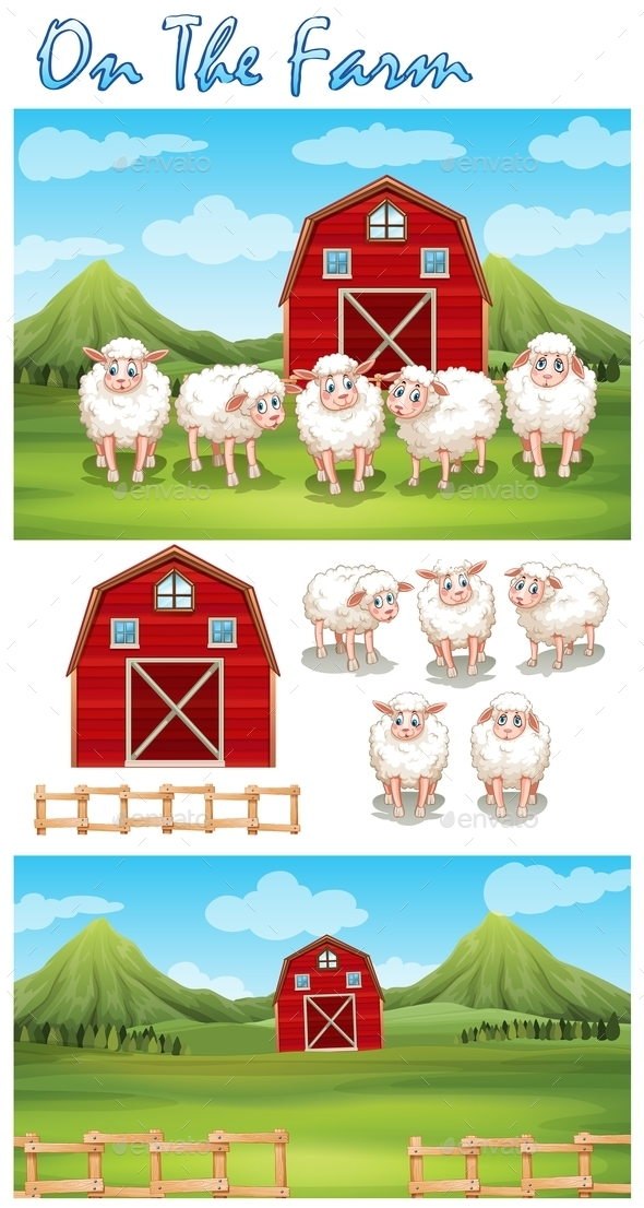 Farm Theme with Sheeps - Animals Characters