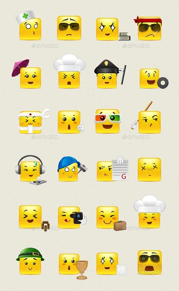 Emotional Square Smiley in Yellow - Miscellaneous Characters