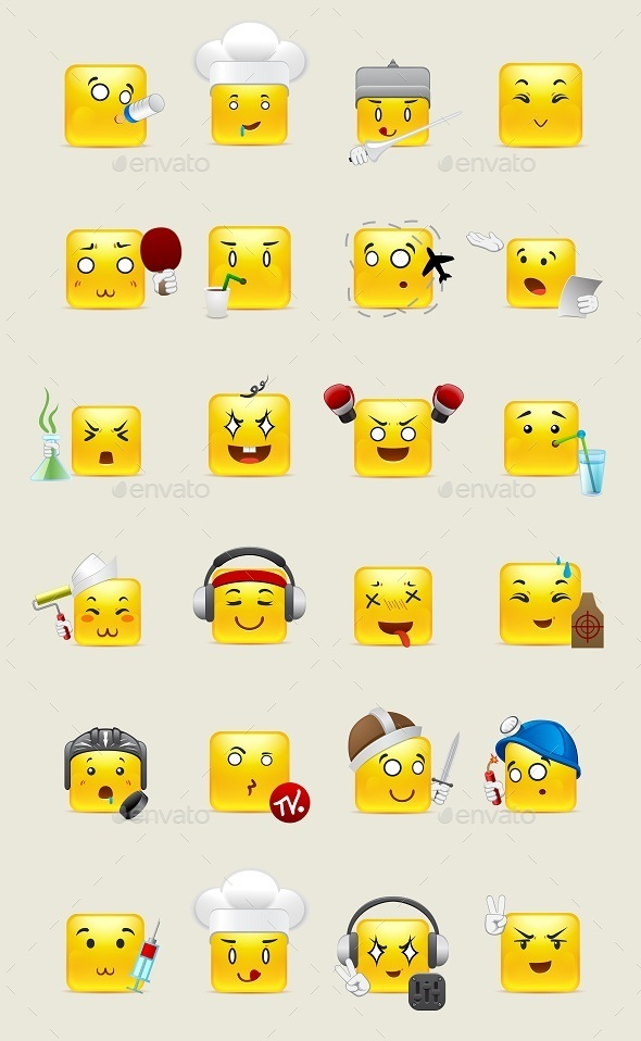 Square Smileys with Emotions - Miscellaneous Characters