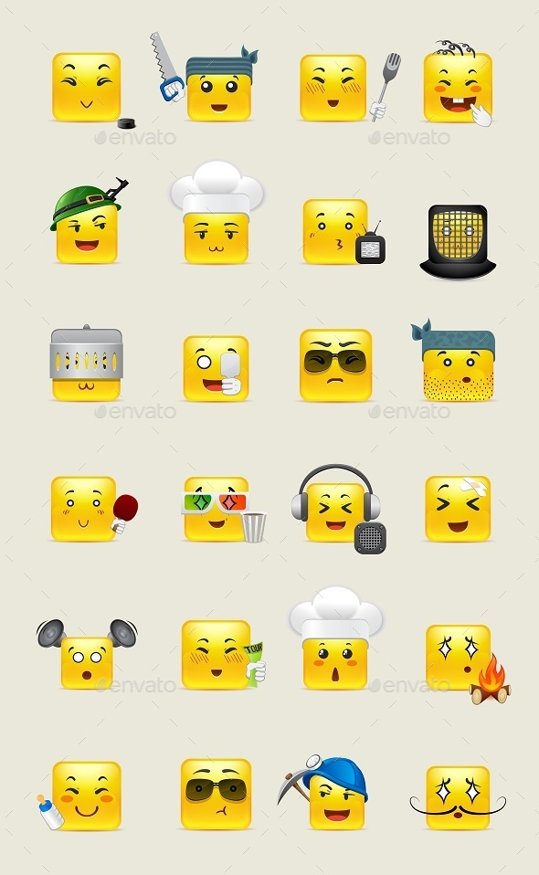 Emotional Square Smiley - Miscellaneous Characters