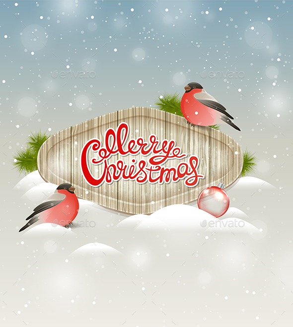 Background with Two Bullfinch - Christmas Seasons/Holidays