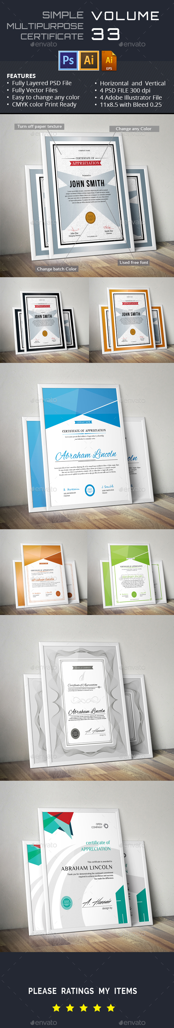 Simple Certicates GD033 - Certificates Stationery