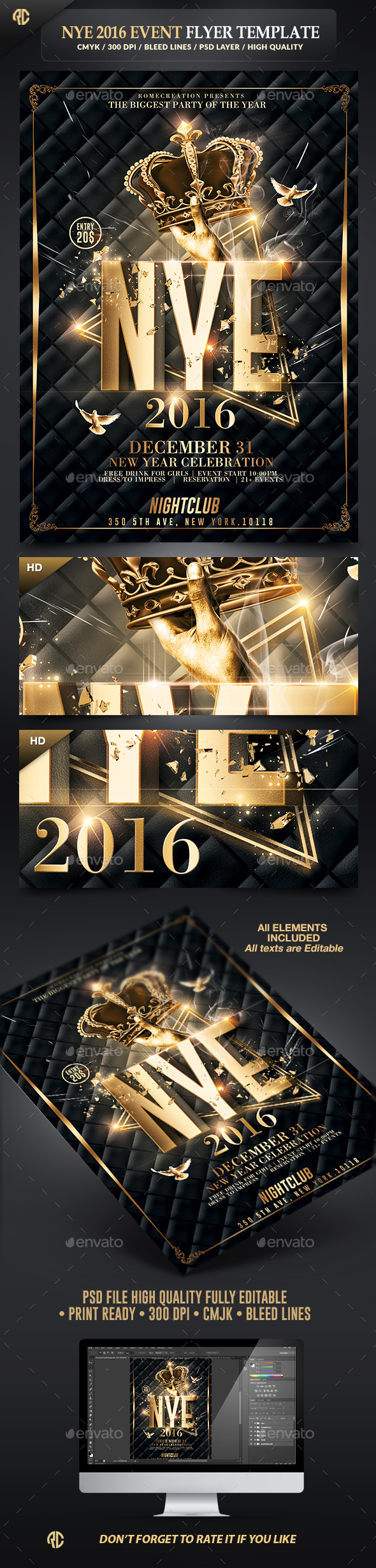 New Year Party | Classy Flyer Template - Events Flyers