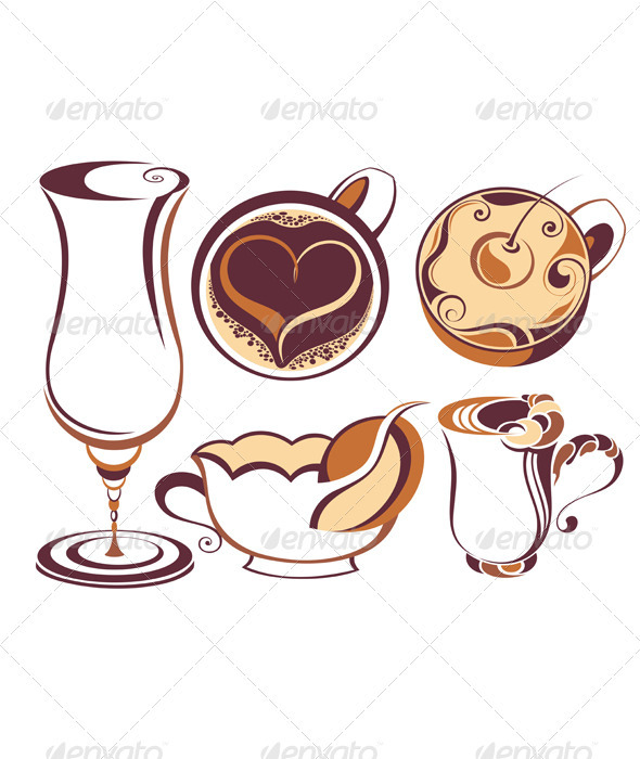 Coffee and tea design elements - Food Objects