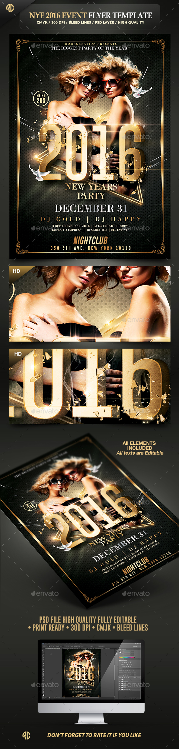 NYE Party | Classy Flyer Template - Events Flyers