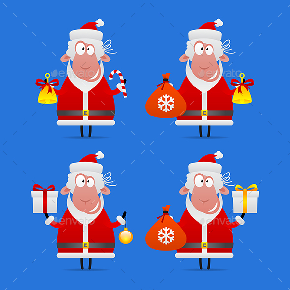 Sheep Santa Claus - Animals Characters