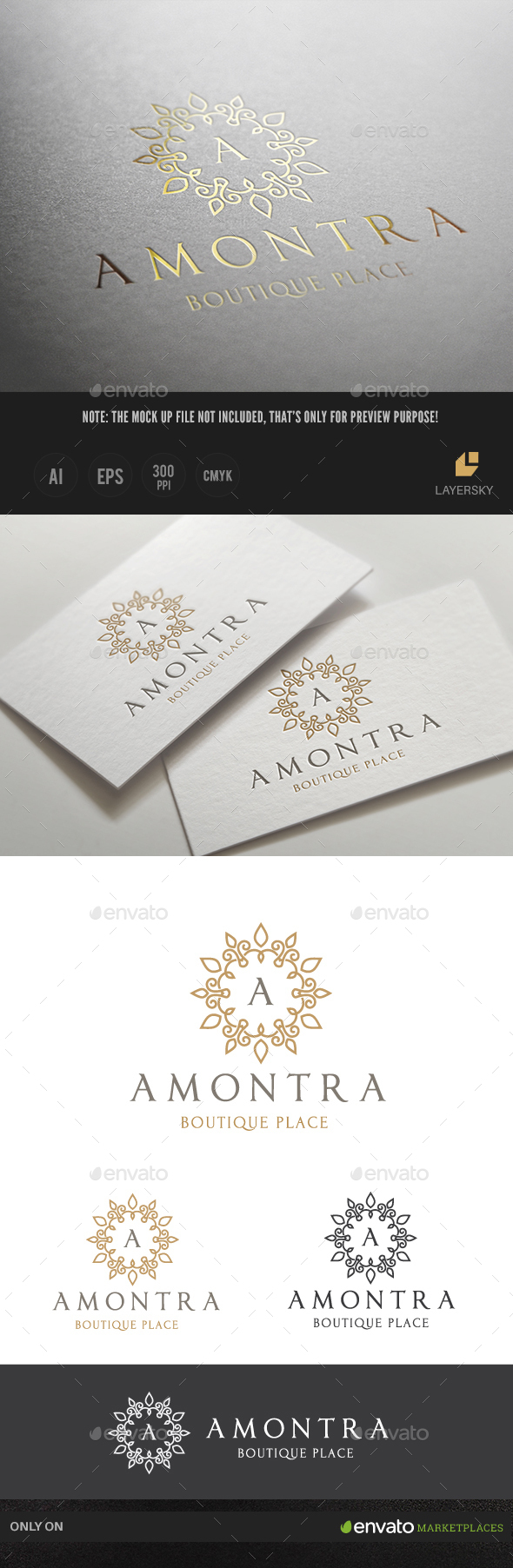 Amontra Boutique Brand - Crests Logo Templates
