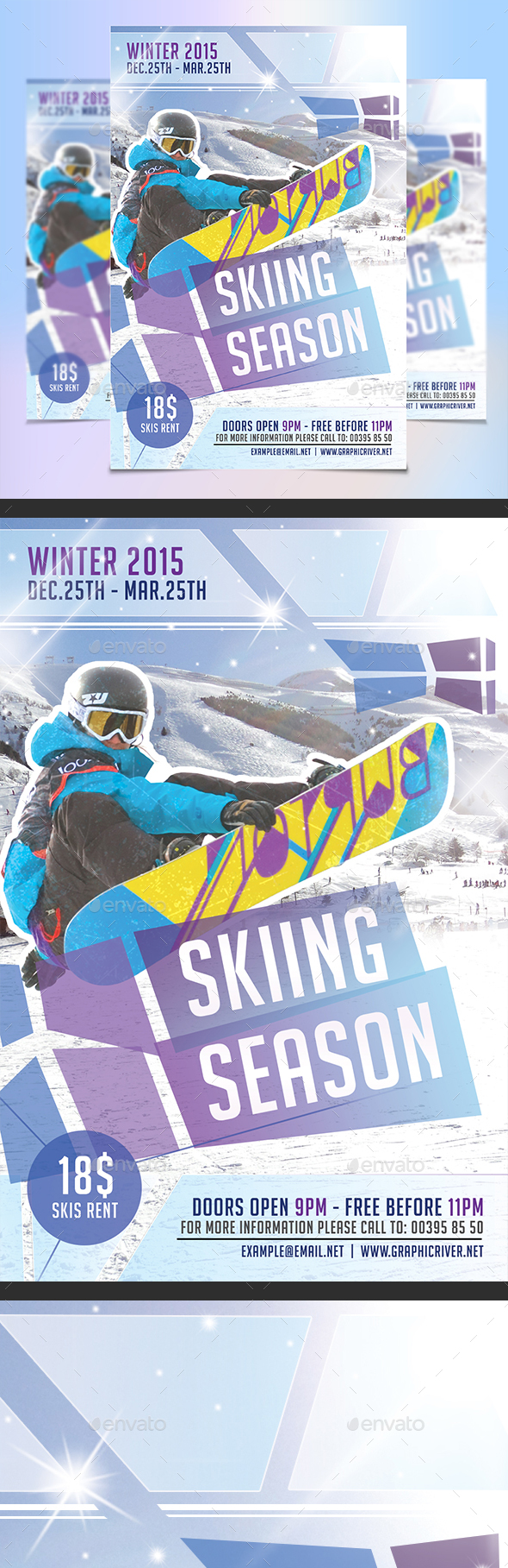 Skiing Season Flyer Template - Sports Events