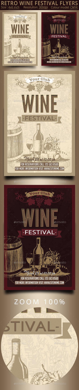Retro Wine Festival Flyers - Flyers Print Templates