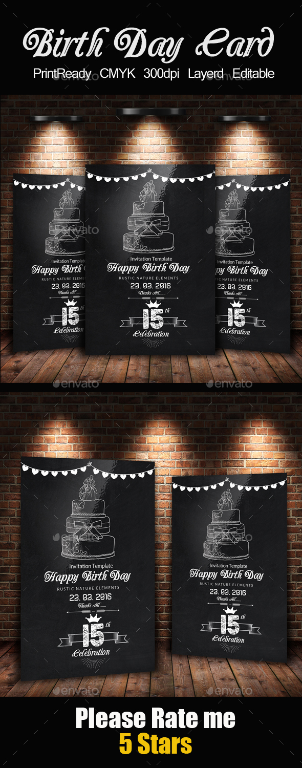 Chalk Board Birthday Invitation Card - Cards & Invites Print Templates