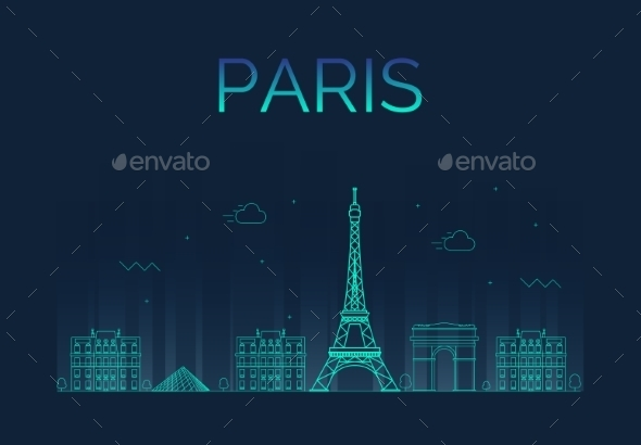 Paris City Skyline Detailed Silhouette - Buildings Objects