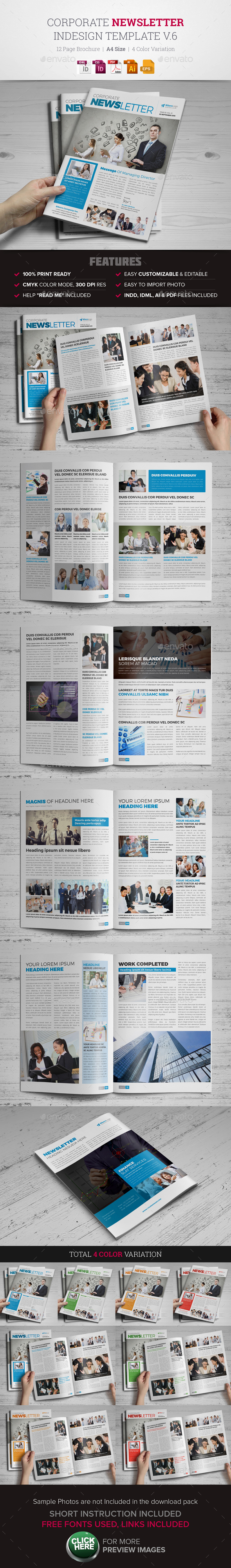 Newsletter Indesign Template v6 - Newsletters Print Templates