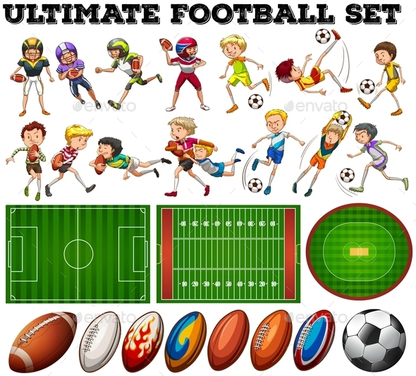 Football Theme with Players and Ball - People Characters