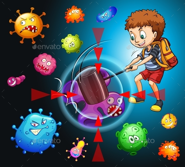 Boy Fighting with Bacteria - Animals Characters