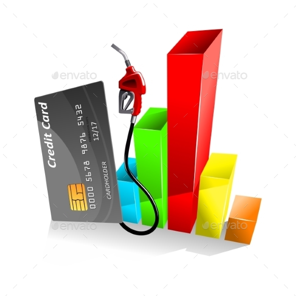 Credit Card with Decreasing Chart - Concepts Business