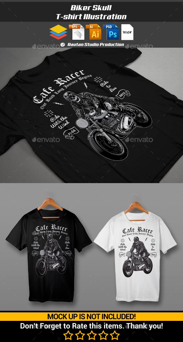 Biker Skull - Designs T-Shirts