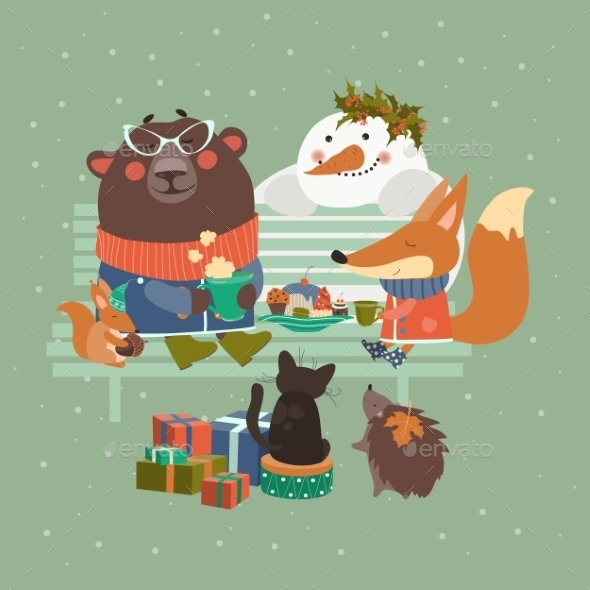 Cute Animals Celebrating Christmas - Christmas Seasons/Holidays