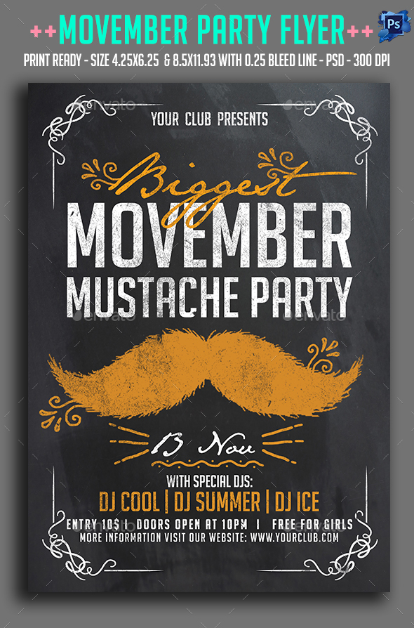 Movember Party  Flyer - Clubs & Parties Events