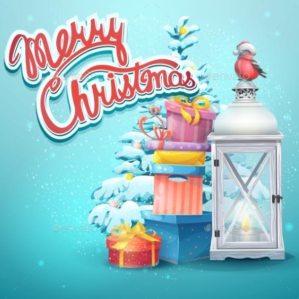 Illustration With Christmas Tree, Gifts - Christmas Seasons/Holidays