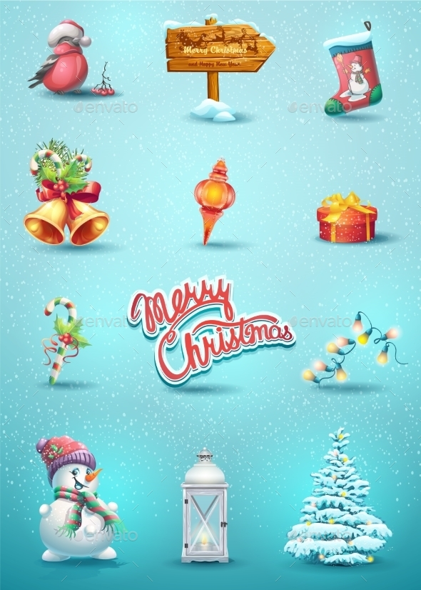 Set Of Christmas Elements - Christmas Seasons/Holidays