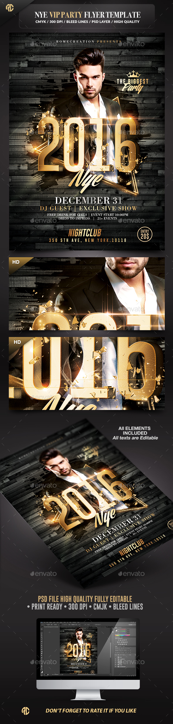 NYE Vip Party | Gold Flyer Template - Events Flyers