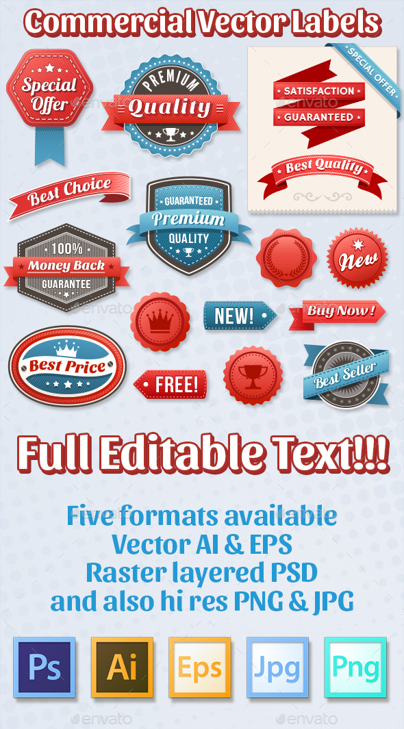 Red and Blue Vector Commercial labels - Retail Commercial / Shopping