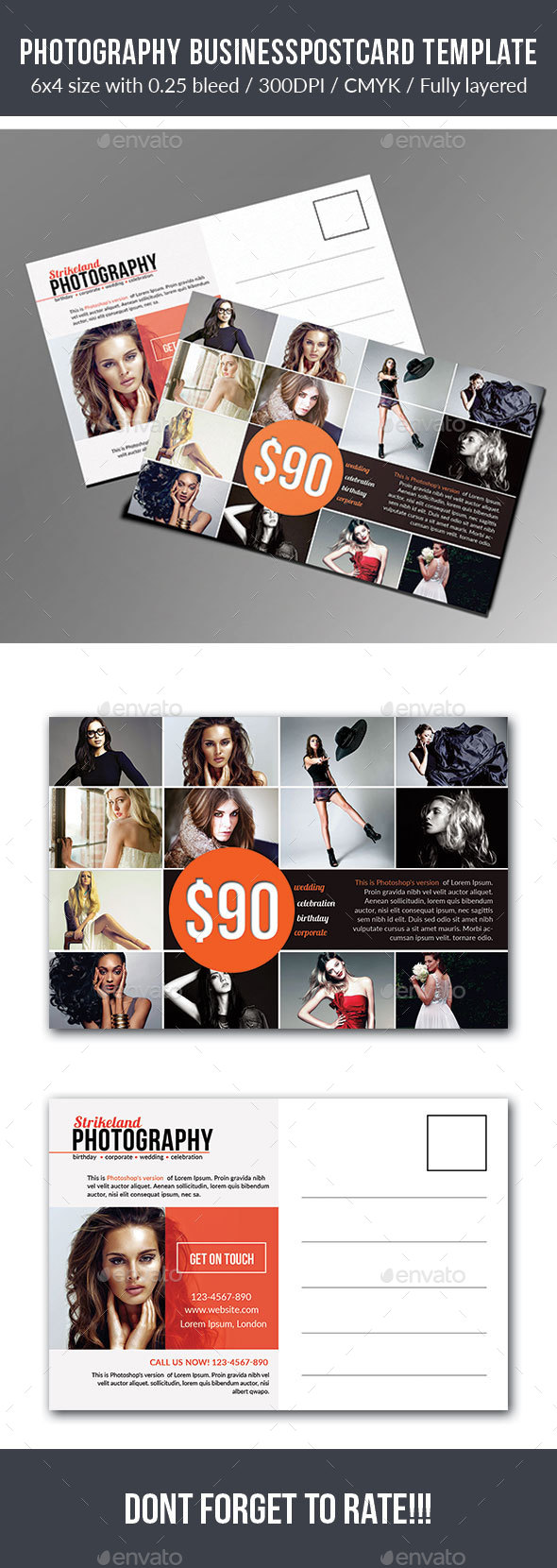 Photography Postcard Template - Cards & Invites Print Templates
