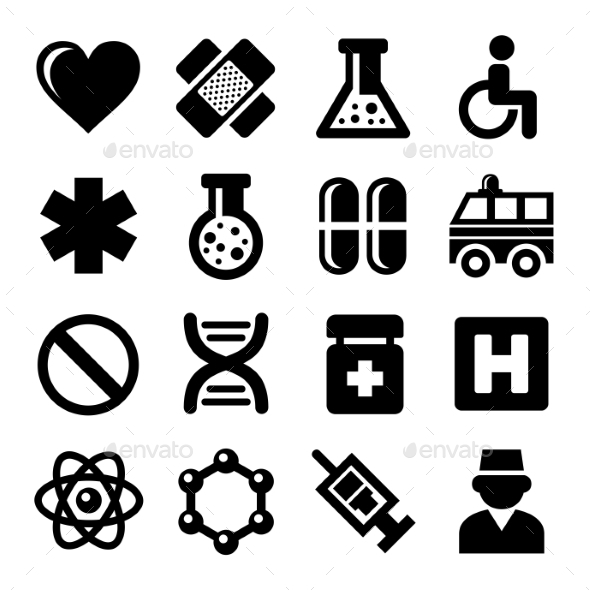 Medic Icons Set On White Background. Vector - Objects Icons