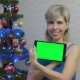 Woman Writes A Christmas Greeting On The Tablet - VideoHive Item for Sale