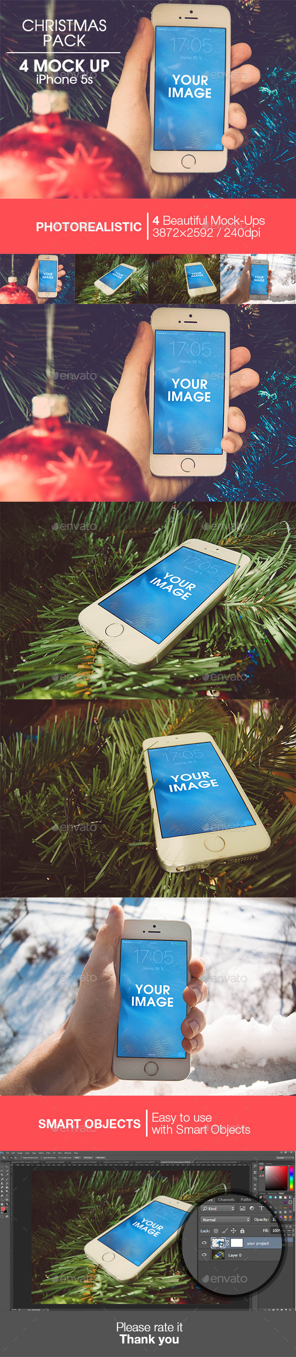 Christmas pack | 4 Mock-up iPhone 5s - Product Mock-Ups Graphics