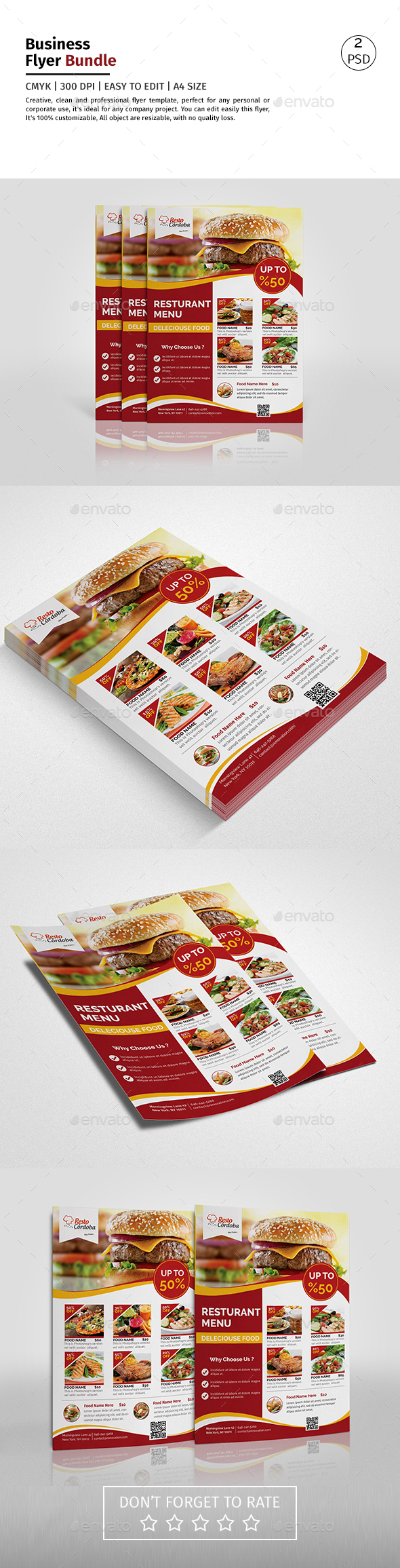 A4 Delicious Food Menu DS Flyer - Corporate Flyers