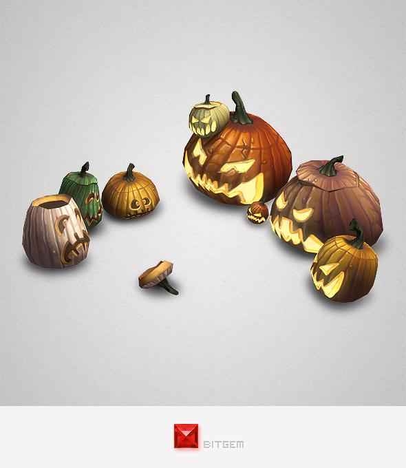 Low Poly Halloween Pumpkins - 3DOcean Item for Sale