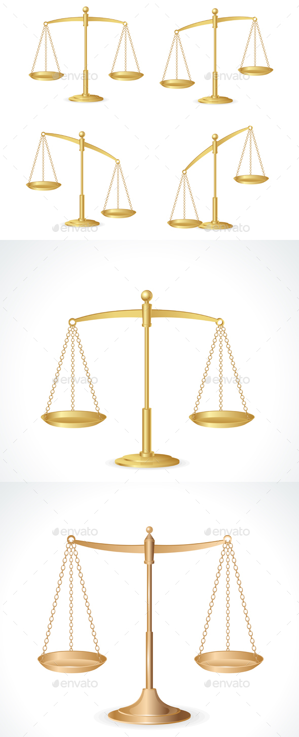 Justice Scales Set Isolated on White. Vector - Objects Vectors