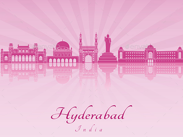 Hyderabad Skyline in Purple Radiant Orchid