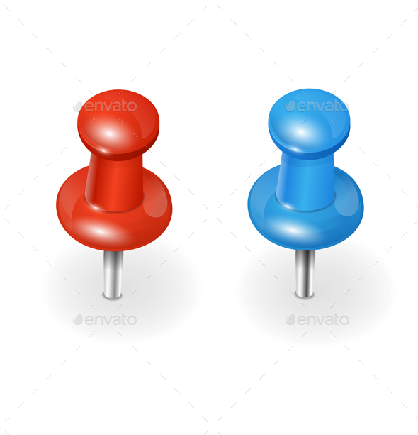 Red and Blue Pushpin on White Background. Vector - Objects Vectors