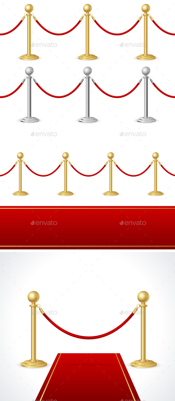 Red Event Carpet and Barrier Rope. Vector - Objects Vectors