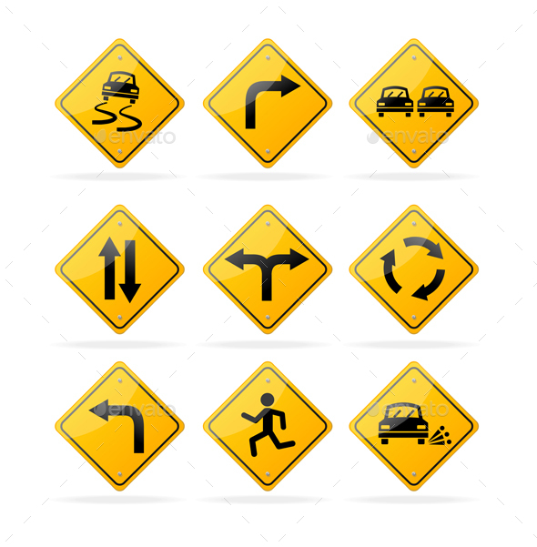 Yellow Road Traffic Signs Set. Vector - Objects Vectors