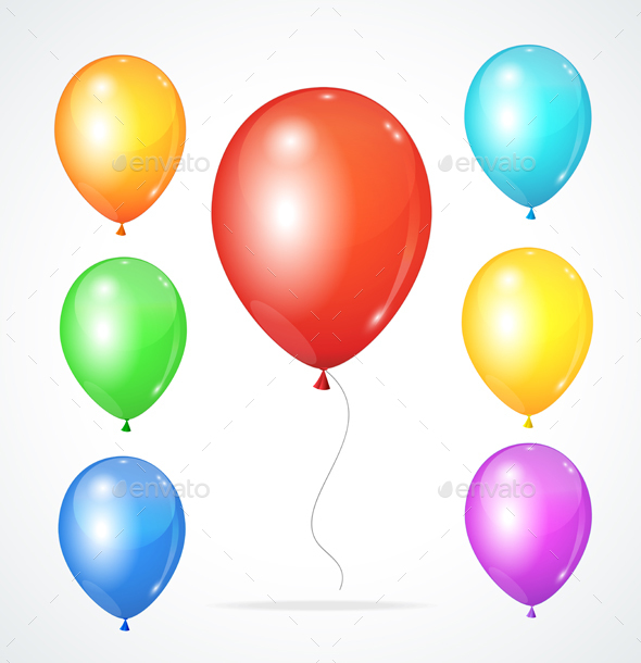 Color Glossy Rainbow Balloons. Vector - Objects Vectors