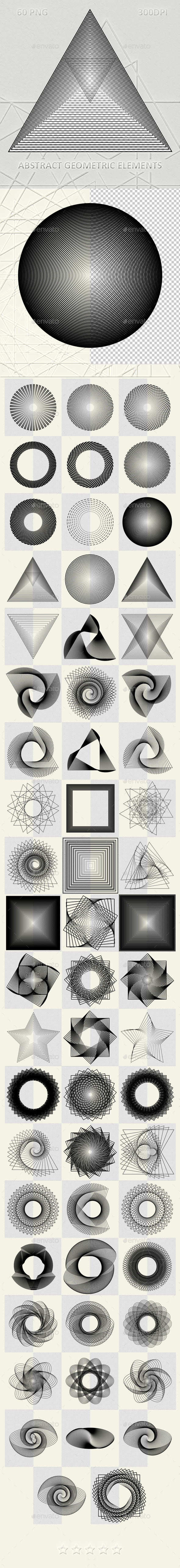 60 Abstract geometric elements - Flourishes / Swirls Decorative
