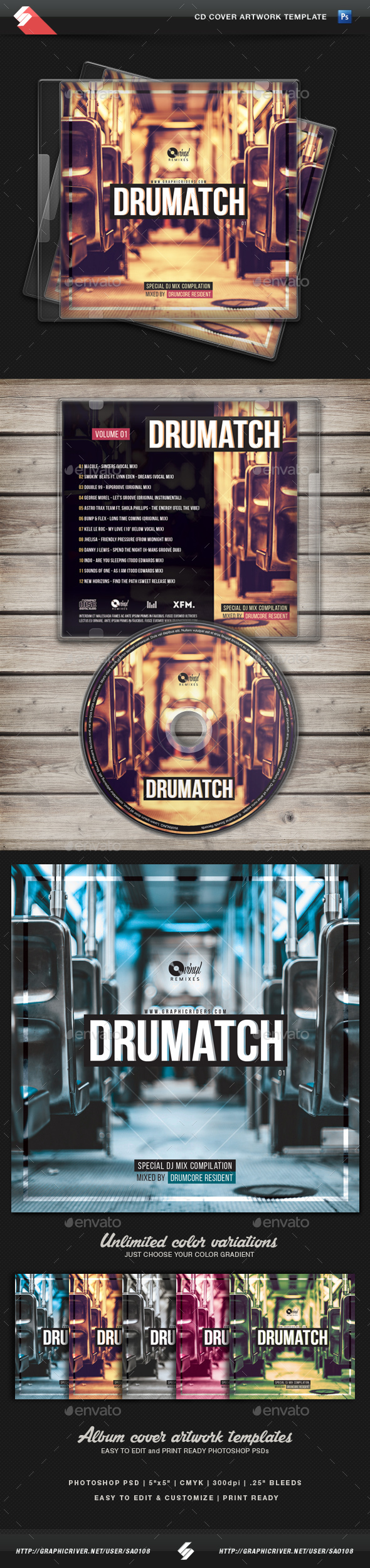 Drumatch vol.1 - CD Cover Artwork Template - CD & DVD Artwork Print Templates