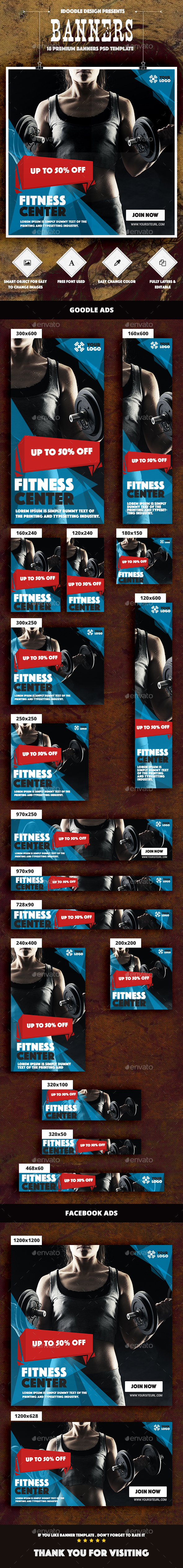 Banners Fitness Ad - Banners & Ads Web Elements