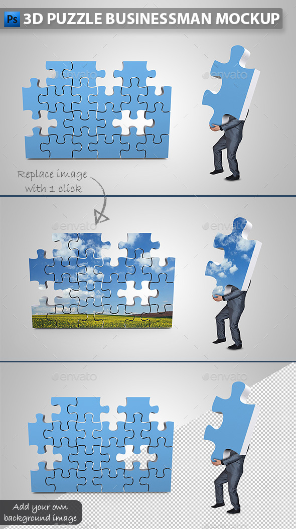 Businessman Assembling 3D Puzzle Mockup - Miscellaneous Photo Templates