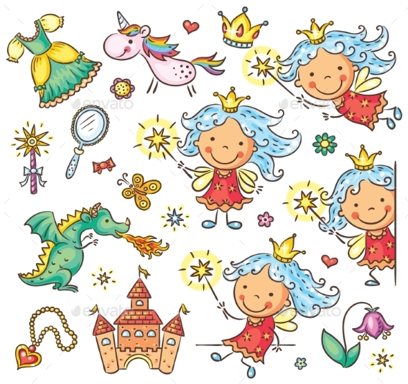 Little Fairy Set With a Castle, Unicorn, Dragon - People Characters